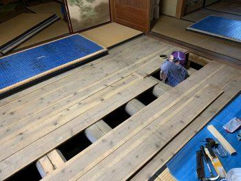 シロアリ点検:畳をあげて床下を点検します