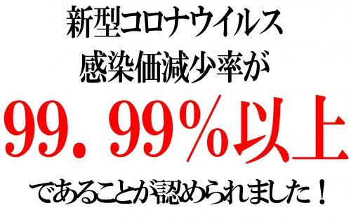 新型コロナウイルス感染価減少率99.99%!